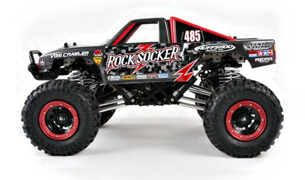 Assembled and finished Tamiya Rock Socker radio controlled crawler truck