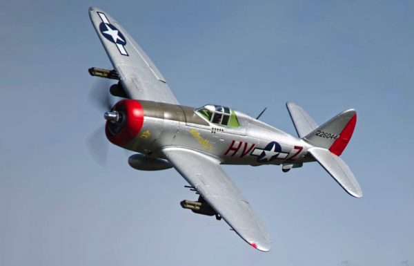Assembled and finished Arrows Hobby P-47 Thunderbolt plug and play radio controlled plane in flight