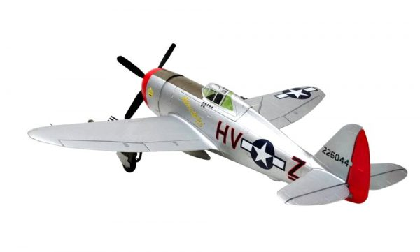 Assembled and finished Arrows Hobby P-47 Thunderbolt plug and play radio controlled plane rear view