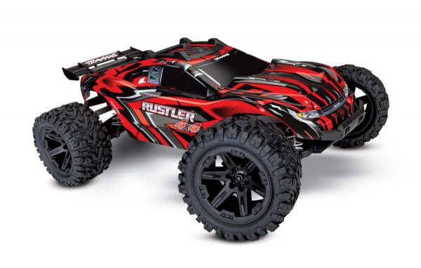 Traxxas Rustler 4x4 Red radio controlled truck side view