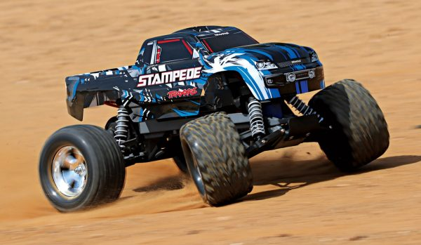 Traxxas Stampede Blue 2wd radio controlled truck on dirt track