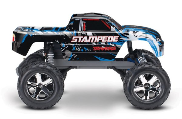 Traxxas Stampede Blue 2wd radio controlled truck side view