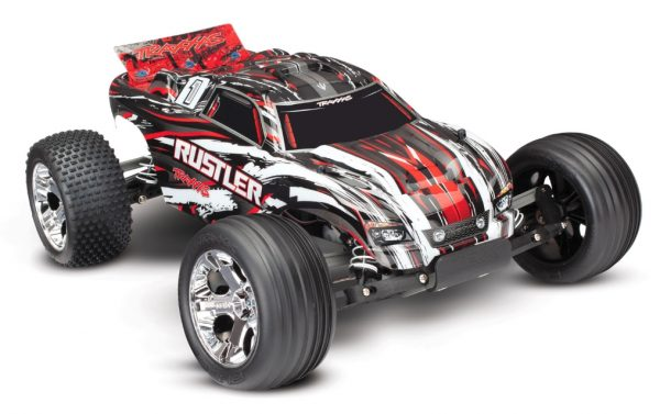 Traxxas Rustler 2wd radio controlled truck in red