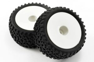 fastrax 1/10 cuboid white dished buggy wheels and tyres rear