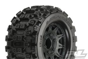pro-line mx28 badlands tyre and wheel