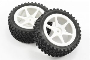 Fastrax 1/10th Mounted Cuboid White Spoked Buggy Wheels and Tyres - Front