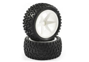 Fastrax 1/10th Mounted Cuboid White Spoked Buggy Wheels and Tyres - Rear