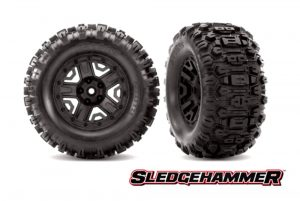 Traxxas Sledgehammer Tyres Mounted on Black Wheels with Foam Inserts (2pcs) (TSM Rated) TRX6792