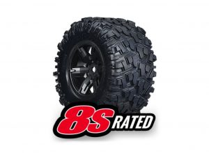 Traxxas X-Maxx 8S Wheels and Tyres - Black Wheels and AT Tyres Qty 2 - TRX7772X