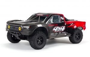 Arrma 1/10 Senton 4x4 V3 Mega SC Truck RTR - Black/Red - ARA4203V3IT1 front view