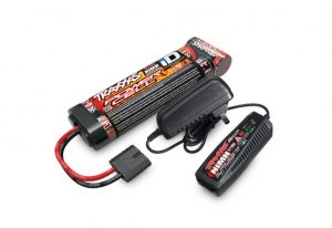 Traxxas Completer Pack with Mains 2A AC NiMH Charger & 1x NiMH 8.4V 3000mAh Flat iD Battery - TRX2983T