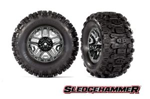 Traxxas Sledgehammer Tyres Mounted on Black Chrome Wheels with Foam Inserts Qty 2 TSM Rated - TRX9072