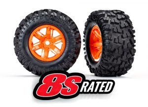 Traxxas X-Maxx 8S Wheels and Tyres - Orange Wheels and AT Tyres Qty 2 - TRX7772T