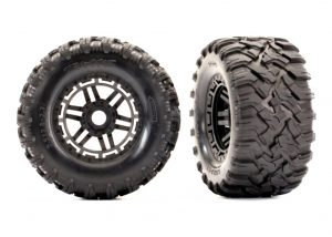 Traxxas Maxx All Terrain Tyres - TSM Rated Mounted on Black Wheels with Foam Inserts Qty 2 - TRX8972