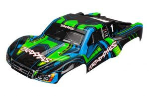 Traxxas Slash Body 2WD & 4WD Green and Blue Painted with Decals Applied - TRX6844X