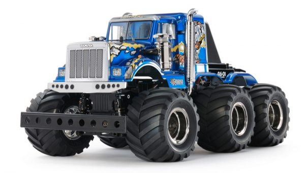 Assembled and finished Tamiya Konghead radio controlled truck kit front view