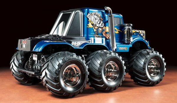Assembled and finished Tamiya Konghead radio controlled truck kit rear view