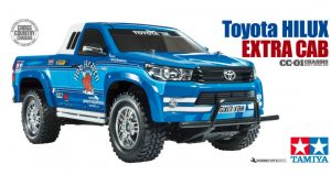 Box art for Tamiya Toyota Hilux radio controlled truck kit