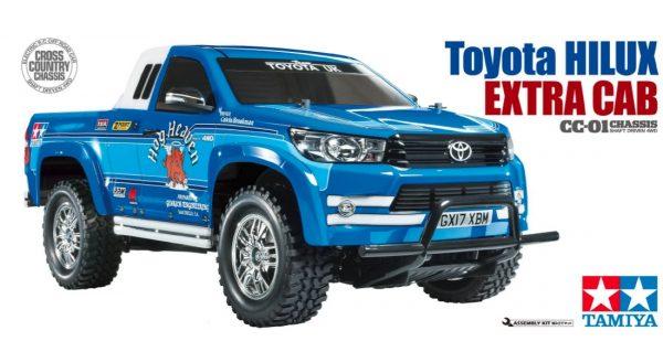 Box art for Tamiya Toyota Hilux radio controlled truck kit