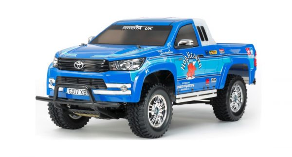 Assembled and finished Tamiya Toyota Hilux radio controlled truck kit