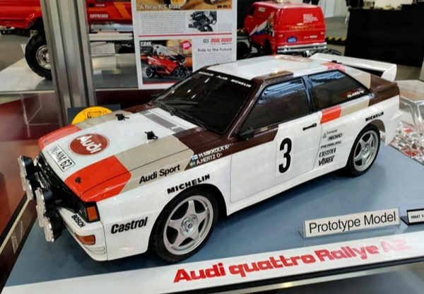 Assembled and finished Tamiya audi s2 radio controlled rally car kit