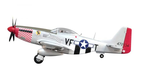 Assembled and finished Arrows Hobby P-51 Mustang plug and play radio controlled plane side view