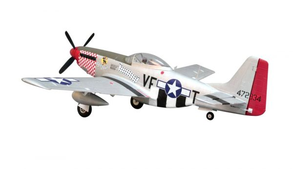 Assembled and finished Arrows Hobby P-51 Mustang plug and play radio controlled plane rear view