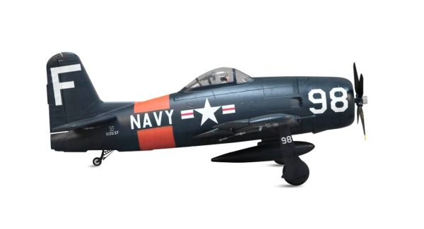 Assembled and finished Arrows Hobby F8F Bearcat plug and play radio controlled plane side view