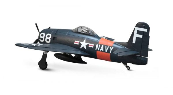 Assembled and finished Arrows Hobby F8F Bearcat plug and play radio controlled plane rear view